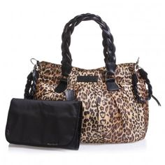 Leopard print diaper bag with changing mat