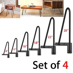 Features:The base is thicken, more stable and sturdy.Surface is powder coated that will protect from scratches and rust.These are easy to use, just screw into wood surface, durable and great quality overall.Five pre-drilled holes in mounting plate allow for easy and quick installation.These hairpin legs can make a throwback to popular mid-century designs for a fun retro, industrial feel.Suitable for furniture end tables, sofa tales, DIY wood benches, laptop desks and self-designed…