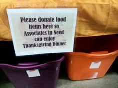 Walmart Store Holding Thanksgiving Charity Food Drive -- For Its Own Employees!
