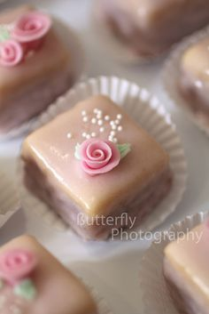 Petit fours--You can see the layers of cake and filling, like you are supposed to.