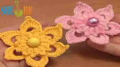 Crochet Flower Puff Stitch Center Tutorial 72 Crochet Flower Library Free Patterns  http://sheruknitting.com/videos-about-knitting/crochet-flower-lessons/item/521-crochet-flower-puff-stitch-center.html  Free crochet flower patterns, huge library of crocheted and knitted flowers, detailed crochet flower video tutorials, DIY flowers for embellishing your projects, crochet flower patterns for any difficulty levels.