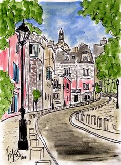 Pink in Montmartre... original painting by Fifi Flowers: the view from outside my landlady's building while I waited for the Montmartrobus