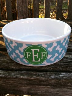 Monogrammed Pet Bowl Personalized Pet Bowl Dog by PinkWasabiInk, $28.00