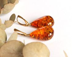 Long massive cognac color teardrop amber earrings unique drop amber jewelry natural Baltic amber luxury large earrings for women 10.7 g. by AmberDesign8 on Etsy