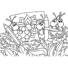 Picnic scene with bugs coloring page coloring pages for Picnic scene coloring page