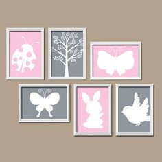 ★Modern Forest Animals Ladybug Butterfly Rabbit Tree Bird Silhouette Woodland Set of 6 Prints WALL ART Gallery Baby Nursery Decor ★Includes 6