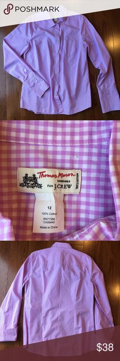 Thomas Mason for J. Crew perfectly tailored top Thomas Mason for J. Crew perfectly tailored pink plaid button up. Beautifully tailored with a nice feminine fit. Like new condition. 100% cotton J. Crew Tops Button Down Shirts