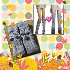 """Light gray winter long thick leg warmers Light gray color women's fashion winter warmer thick knitting socks Material : 85% Acrylic 10% Polyester 5% Elastic length 26"""" very warm good for yourself or Christmas gifts brand new tag on bag Accessories Hosiery & Socks"""
