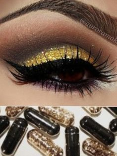 Eye Makeup Tips.Smokey Eye Makeup Tips - For a Catchy and Impressive Look Bee Makeup, Skin Makeup, Makeup Tips, Beauty Makeup, Gold Makeup, Glitter Makeup, Batgirl Makeup, Batman Makeup, Batman Nails