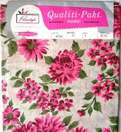 4 yards 60s Chintz Pink Flower Fabric - Pink Fuchsia Green Flowers - Floral Design Motif - 1960s Polished Glazed Cotton - Sewing Project Yd on Etsy, $27.99