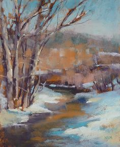 "Daily Paintworks - ""What to do With a New Box of Pastels.Winter landscape"" - Original Fine Art for Sale - © Karen Margulis Art Pastel, Pastel Artwork, Oil Pastel Paintings, Oil Pastel Drawings, Paintings I Love, Pastel Landscape, Landscape Art, Landscape Paintings, Winter Landscape"