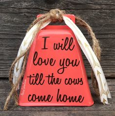 Valentine's Day, Love Gifts, Wedding Gift, Love & Cows, Cowgirl, Coral, Wedding Cake Topper, Quote, Farm, Rodeo, Country, Western, Cowboy, Ranch, Rustic Modern, Chic Decor by HorseShoeFever on Etsy https://www.etsy.com/listing/584801061/wedding-cowbell-love-cows-cowgirl-gifts #countryweddingcakes #countrywesternweddings #modernweddingcakes #weddinggifts