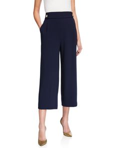 Nanette Lepore Wide-leg Pull-on Cropped Pants In Navy Leg Pulling, Nanette Lepore, Last Call, Clearance Sale, Cropped Pants, Neiman Marcus, Polyester Spandex, Wide Leg, Pajama Pants