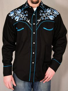Rockmount Ranch Wear - Men's L/S Black Western Snap Shirt with Blue Floral Embroidery $74.97