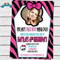 457 best monster high 8th birthday images on pinterest monster girl monster birthday party photo invitations filmwisefo
