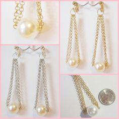 Faux Cream 16mm Pearl 3.5in Drop Dangle Clip On or Pierced Earrings Choose Color #Unbranded #DropDangle