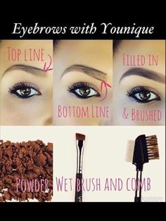 Fill your eye brows with Younique using mineral eye pigment that best suits you, angled brush, and comb for best results. www.mylashesbebangin.com