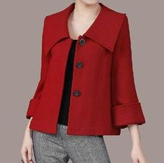 Women's Large lapel Petal Collars Wrap Sleeves Wool por zeniche
