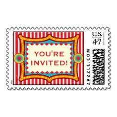Circus Carnival Birthday Party Custom Postage