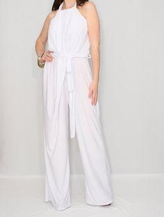 4377caf8a05b White Jumpsuit One piece jumpsuit Unique Jumpsuit Asymmetric jumpsuit