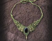Goddess macrame necklace, tiara with onyx gemstone. Indian, asian, etnic, victorian, steampunk, simple.
