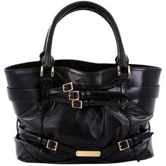 Preowned Burberry Bridle Lynher Tote Leather Medium ($710) ❤ liked on Polyvore featuring bags, handbags, tote bags, black, shoulder bags, handbags totes, burberry tote bag, leather handbags, leather handbag tote and tote handbags