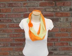 Two Tone Scarf Necklace Orange & Spring Green Spring Scarf Lightweight Scarf Sparkle Scarf Teen Fashion Scarves for Women Gift Ideas for Mom by foreverandrea on Etsy