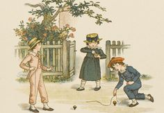 In the Victorian era, children, unless they were rich, didn't have many toys to play with. A lot of them worked, but they still had time to play outdoors (their houses very too small and their families too big to allow them to play inside). They played simple games with whatever they could find and these games were usually accompanied by songs and rhymes.
