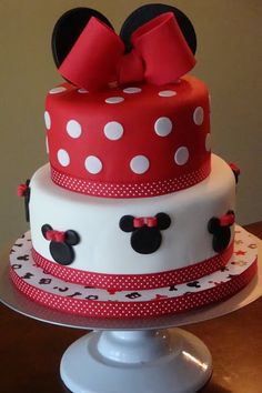 Minnie Mouse Cake- looks like one of the more simple fondant cakes. pretty ribbons around base and cute ears and bow topper.      |  @kimludcom