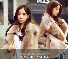 Womens Girls Suede Leather Faux Lamb Fur Collar Warm Winter Coat Jacket Parka YE