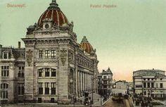 Bucuresti, Palatul Postei anii 1900 Vintage Architecture, Historical Architecture, French Exterior, Bucharest Romania, Vintage Photographs, Big Ben, Tourism, Europe, Landscape