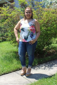 Floral tank. Distressed denim. Lace up wedges. Spring style. Plus size fashion blogger. Curvy fashion.