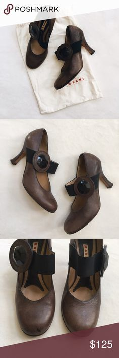 Marni Mary Janes Gorgeous vintage inspo by Marni!! Love these comfortable and walkable shoes. Brown and black with removable jewel pins. Leather has that perfect worn look (all flaws pictured) purchased at Neiman Marcus. Made in Italy. Dust bag included Marni Shoes Heels