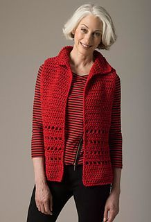 Level 1 crocheted vest - free S-2X crochet pattern by Teresa Chorzepa. Free Lion Brand registration may be required. Chunky yarn.