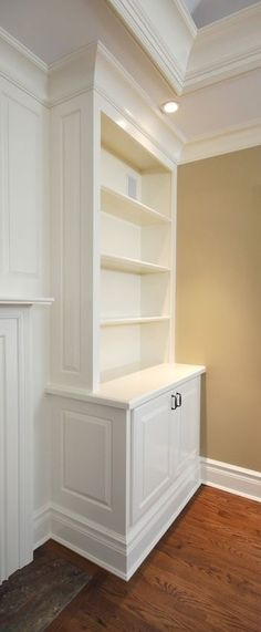 Built-In Cabinets with Mantel. I love built in cabinets, just needs doors to reduce dust Fireplace Built Ins, Fireplace Wall, Muebles Living, Built In Cabinets, Kitchen Cabinets, Display Cabinets, Kitchen Nook, Tv Cabinets, Kitchen Shelves