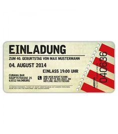 Einladungskarten Geburtstag Als Ticket Eintrittskarte Einladung Karte  Vintage VIP