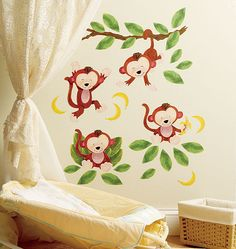 Smiling monkeys on the wall in baby's room—adorable! Wallies' Baby Monkeys Vinyl Decals. Peel & stick, easily removable when it's time to transition to a big kid's room.