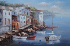 Small Boats In The Dock Of A Mediterranean Village Mediterranean,Boat Naturalism Oil Painting  24 x 36 inches