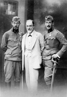 Freud with his two sons who are going to war...