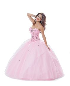 2015 Blue Pink Sweetheart Floor Length Crystals Lace Up Organza Prom / Ball Gown / Quinceanera Dresses 5441