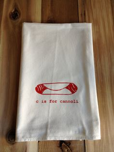 C is for Cannoli Kitchen Towel Tea Towel Flour Sack by garbella, $14.00