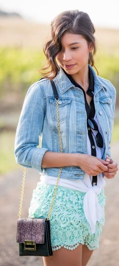 #summer #shorts #trend #outfitideas | Lace Mint Shorts + Denim Jacket                                                                             Source