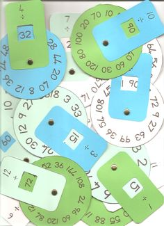 Math Division Wheels...would be really cool to make them for addition and subtraction facts using paint chips. Great for math center/math rti