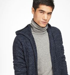 TEXTURED WEAVE HOODED CARDIGAN