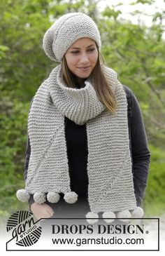 Heidrun - Set consists of: Knitted hat and scarf with short rows and garter stitch. Set is knitted in DROPS Andes. Free knitted pattern DROPS 182-35