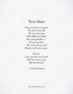 Twin Stars. Beautiful friendship poem, words and poetry