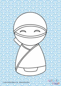Kokeshi doll colour pop colouring page 6