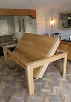 The Farmhouse Rollover - Kitchen Dining & Pool Table Design Dining Room Pool Table, Diy Pool Table, Dining Table With Storage, Pool Table Covers, Diy Table, Kitchen Dining, Pool Tables, Gaming Table Diy, Home Bar Designs