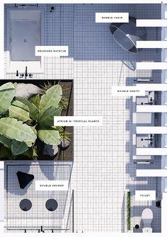 Floorplan layout | Urban contemporary bathroom. Design by Eleni Psyllaki @myparadissi