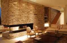 contemporary stone houses | ... house stone fireplace wall timber stairs warm contemporary interior